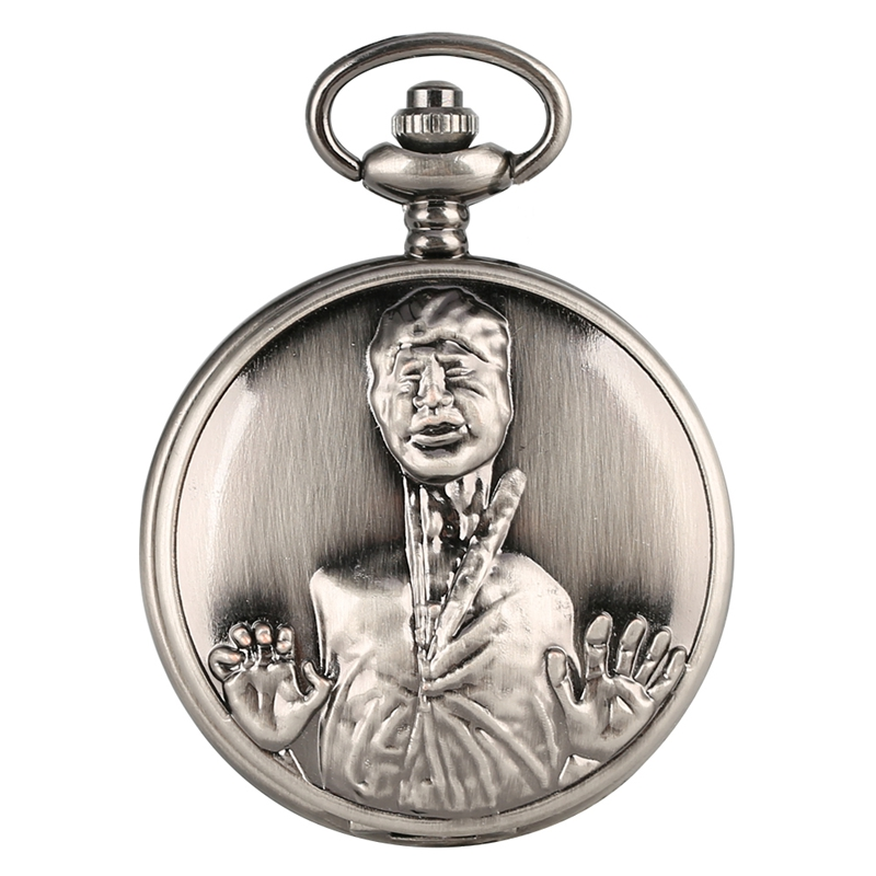 Retro Bronze The Walking Dead Theme Long Neck Zombie Design Quartz Pendant Pocket Watch Chain Top Gifts For Men Women Drama Fans