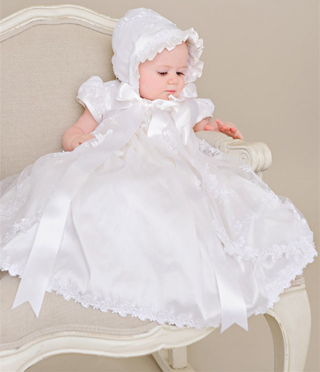 White Ivory Heirloom Baby Lace Dress Christening Gown with Bonnet Bow Sash Baby Girls Baptism Dress 2015 white ivory crystals heirloom dedication christening gown blessing dress with bonnet baby baptism robe for boys girls