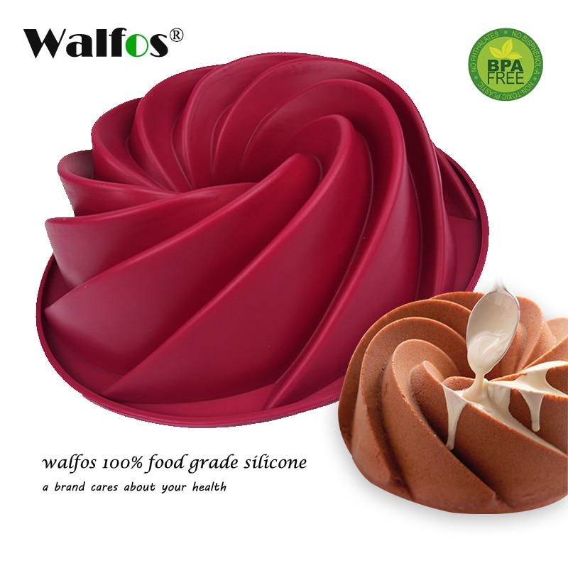 WALFOS 1 PC עוגת סיליקון עובש גדול Bundt עוגת פאן מערבולת הסיליקון תבנית אפייה לחם תבנית מאפה כלים bakeware