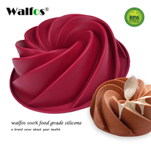 WALFOS  1 pc Large 24cm Bundt Swirl Shape Cake Pan Silicone Baking Mould Chocolate Fondant Sugarcraft Kitchen Mold