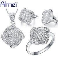 Almei 49% الأزياء مجموعات مجوهرات النساء مجوهرات الزفاف الفضة الكريستال المعين النمط الصيني خمر رخيصة مجموعات كبيرة بيع t051