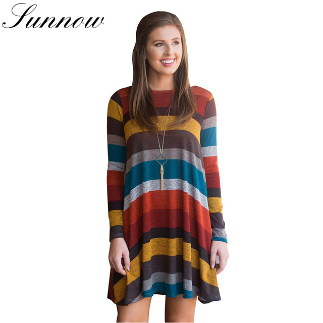 SUNNOW New Long Sleeve Short Dress Women Loose Dresses Striped Printed Swing Tunic Female O Neck Casual Tops Ladies vestidos