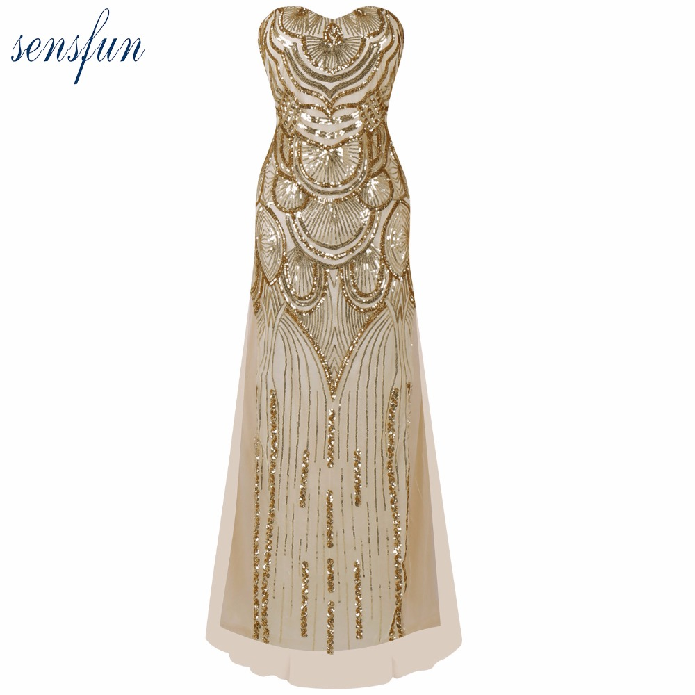 Sensfun Women's 20s Style Shining Flapper Dress Vintage Gatsby Great Gatsby Charleston Sequin Tassel Party Gold Mesh Sequins