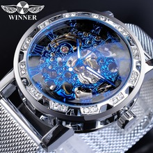 цена на Winner Relogio Masculino Mechanical Blue Hand Wind Mens Boy Watches Top Brand Luxury Crystal Skeleton Slim Mesh Steel Band Clock