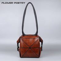 Women Leather Handbags Female Luxury Bags Handbags Women Famous Brands Geometry Deformation Bag For Ladies Square