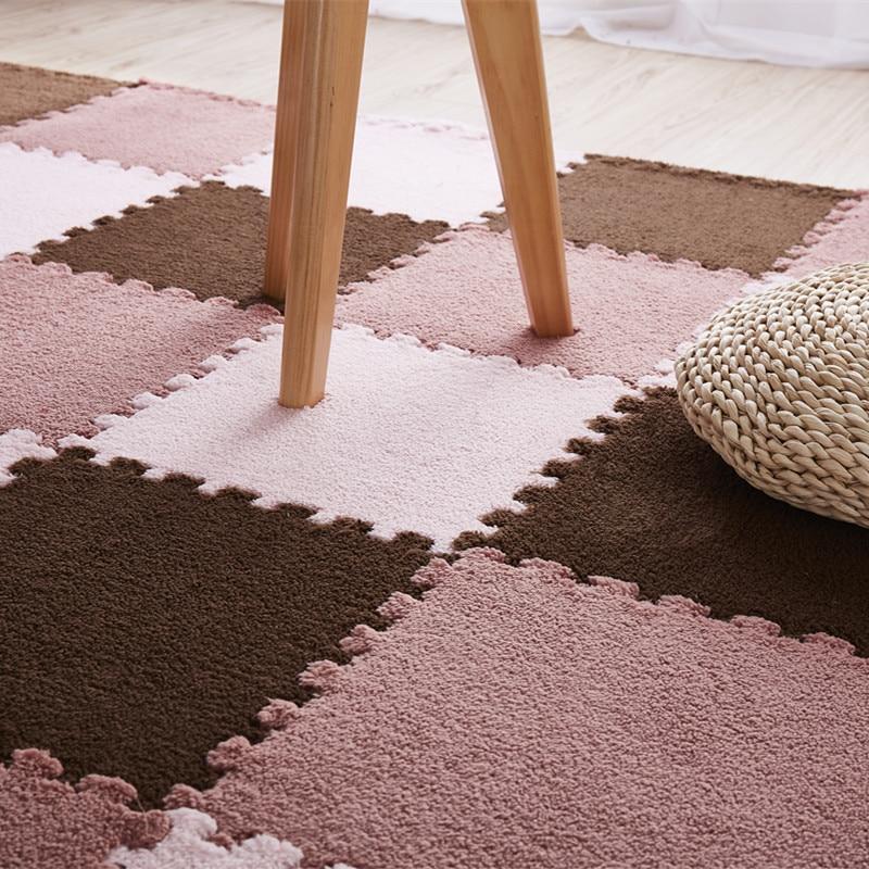 10Pcs 1Set 30 30 1cm EVA Plush Puzzle play mats Foam Shaggy Velvet Carpet Decorative Kids Innrech Market.com