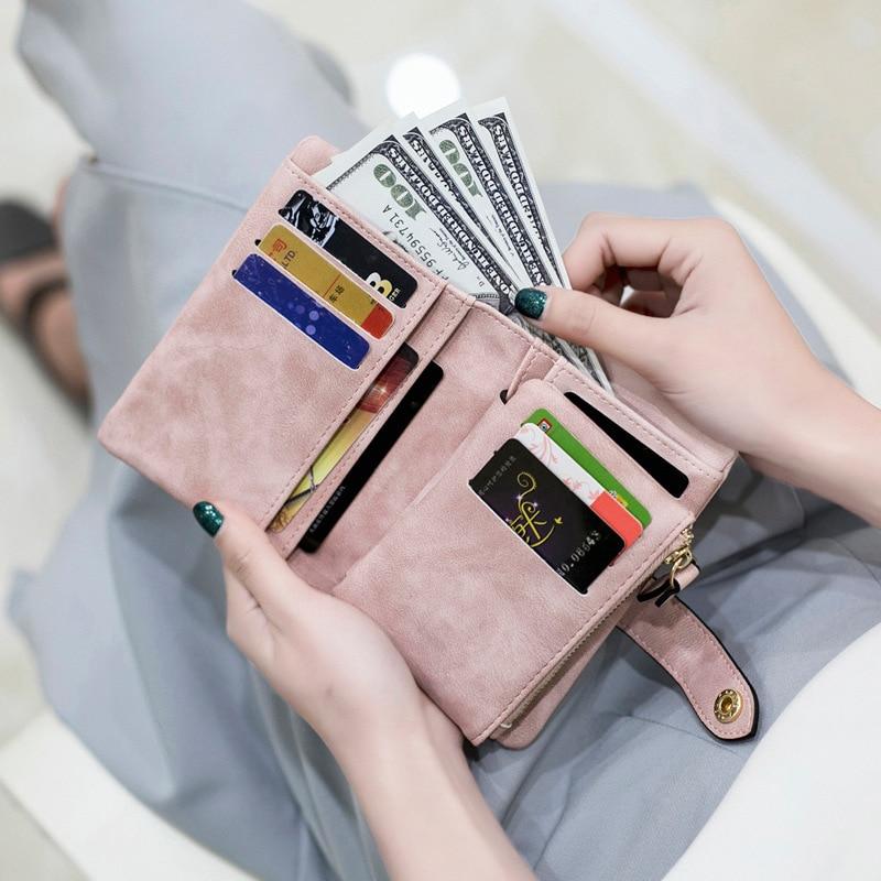 2018 Nubuk Pu-leder Frauen Kurze Brieftasche Tasche Geld Karte Frauen Fashion Reißverschluss Kleine Geburtstagsgeschenk Weiche Mädchen Brieftasche