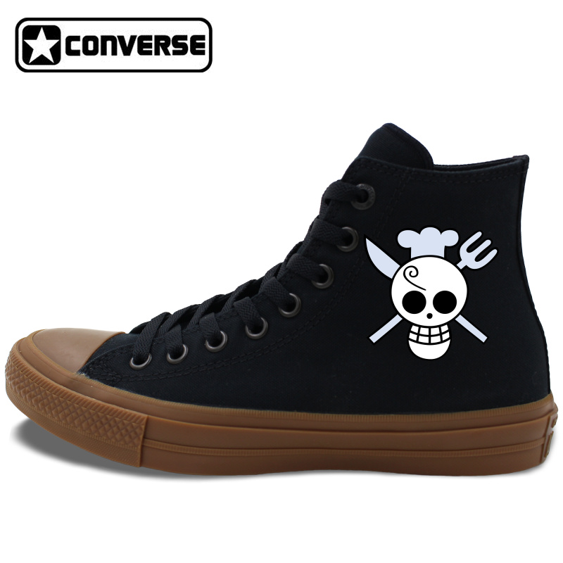 Prix pour Converse Chuck Taylor II All Star Noir Blanc Toile Chaussures Anime One Piece Sanji Unisexe High Top Sneakers Planche À Roulettes Chaussures