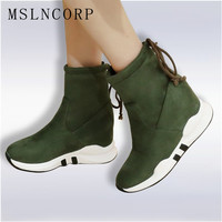 Plus Size 34 45 Women Height Increasing Ankle Boots Shoelaces Slip On Ladies Mujer Winter Snow