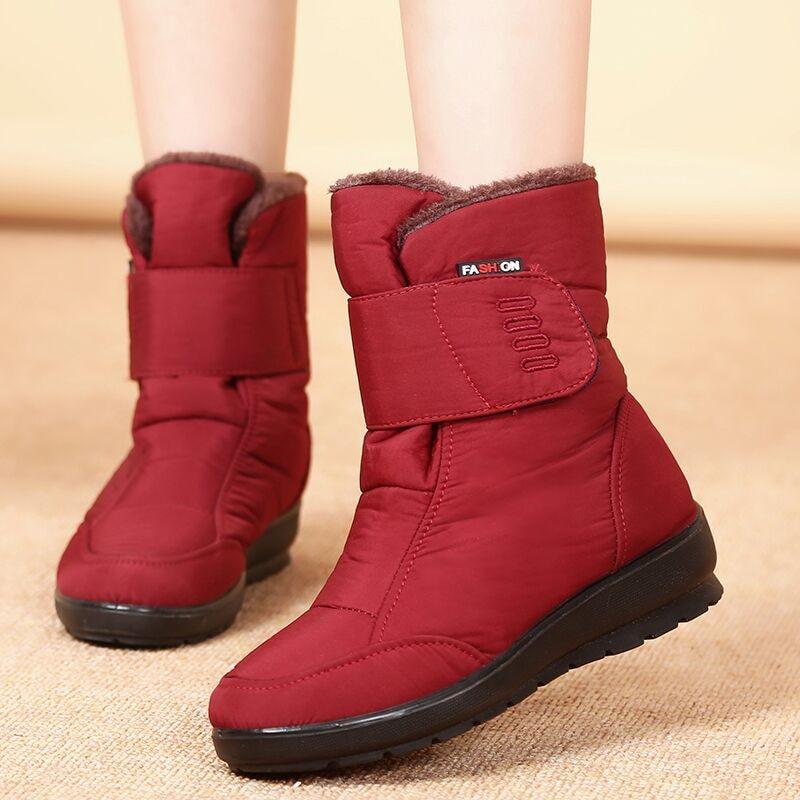 Mujeres Para Impermeable Black Nueva Antideslizante Boots 2018 Tobillo 1805 Plana Gruesa Red Zapatos Las Blue Brown De Mujer Madre Boots Invierno Nieve La Algodón 1805 Botas 5XOqv