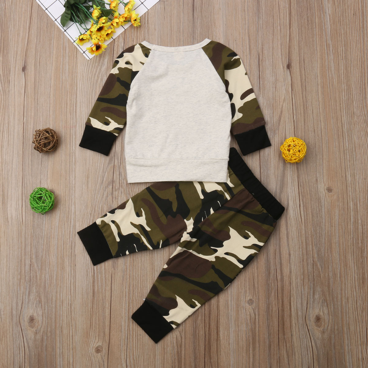 Kids Baby Girl Boy Clothes Cotton Tops Long Sleeve T shirt Camouflage Pants Leggings Toddler Outfits Set 2019 in Clothing Sets from Mother Kids