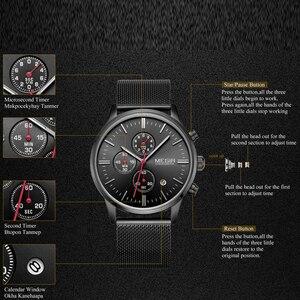 Image 5 - MEGIR chronograph erkek kuvars İzle ince örgü çelik bant erkek saatler altın rahat iş marka erkek saat kol saatleri MG2011