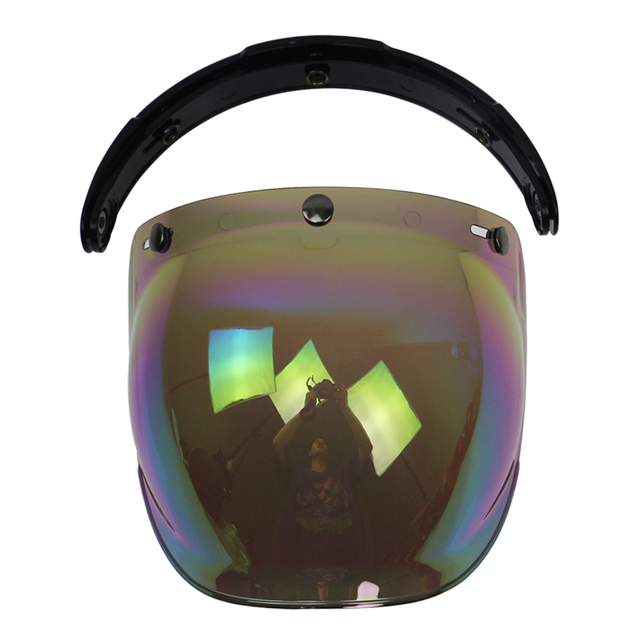 UV 400 protection motocycle helmet bubble visor CE approved open face half face helmet glass fits 3 pin buckle helmet with flip