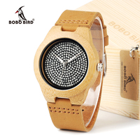 Unisex Mens Watches Top Brand Luxury Diamond Inside With Genuine Cow Leather Strap Quartz Analog Wood
