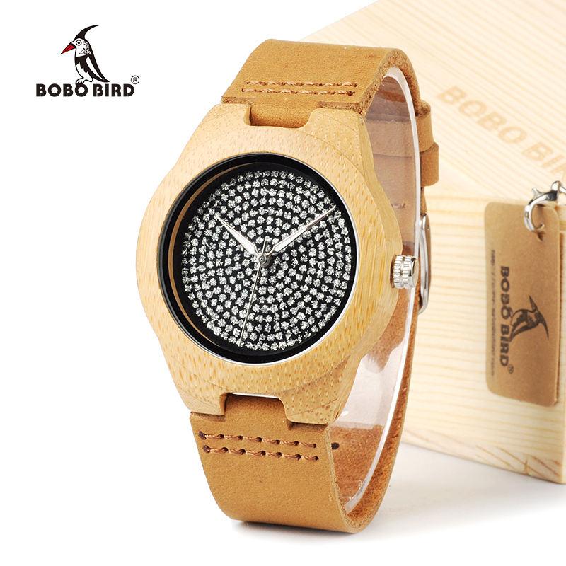 BOBO BIRD A11 Unisex Mens Watches Top Brand Luxury Diamond Inside With Genuine Cow Leather Strap Quartz Analog Wood Watch мягкая игрушка promise a nw113501 bobo 35cm