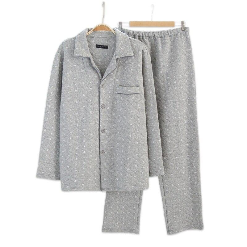 2018 зимние утолщенные 100% хлопковые пижамы наборы мужские теплые простые снежинки принт мужские с длинным рукавом теплая Пижама пижамы мужск...