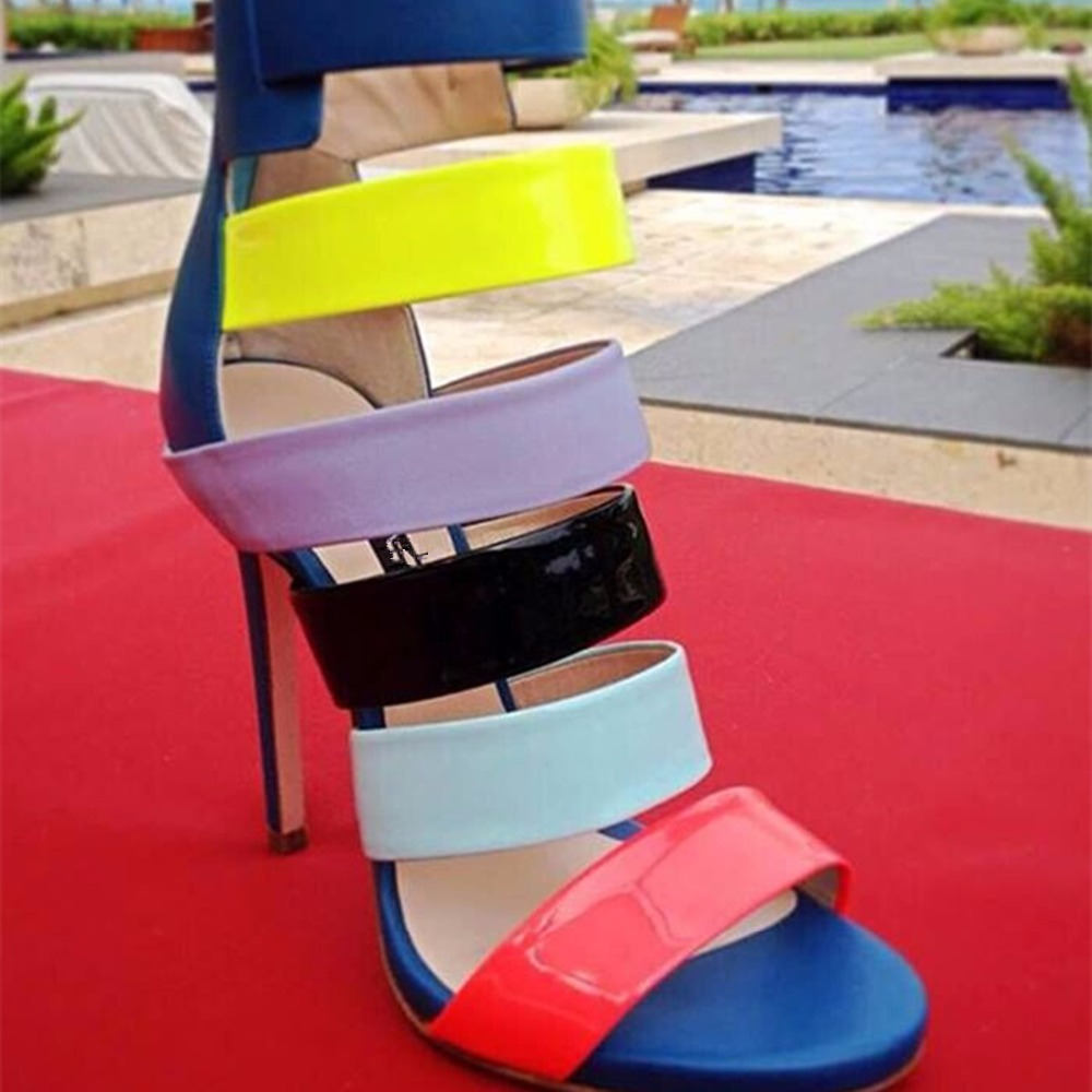 ФОТО Hot Sale Open Toe High Heels 2017 New Style Narrow Band Mixed Colors Gladiator Party Shoes Novelty Colorful Shoes Women Sandals