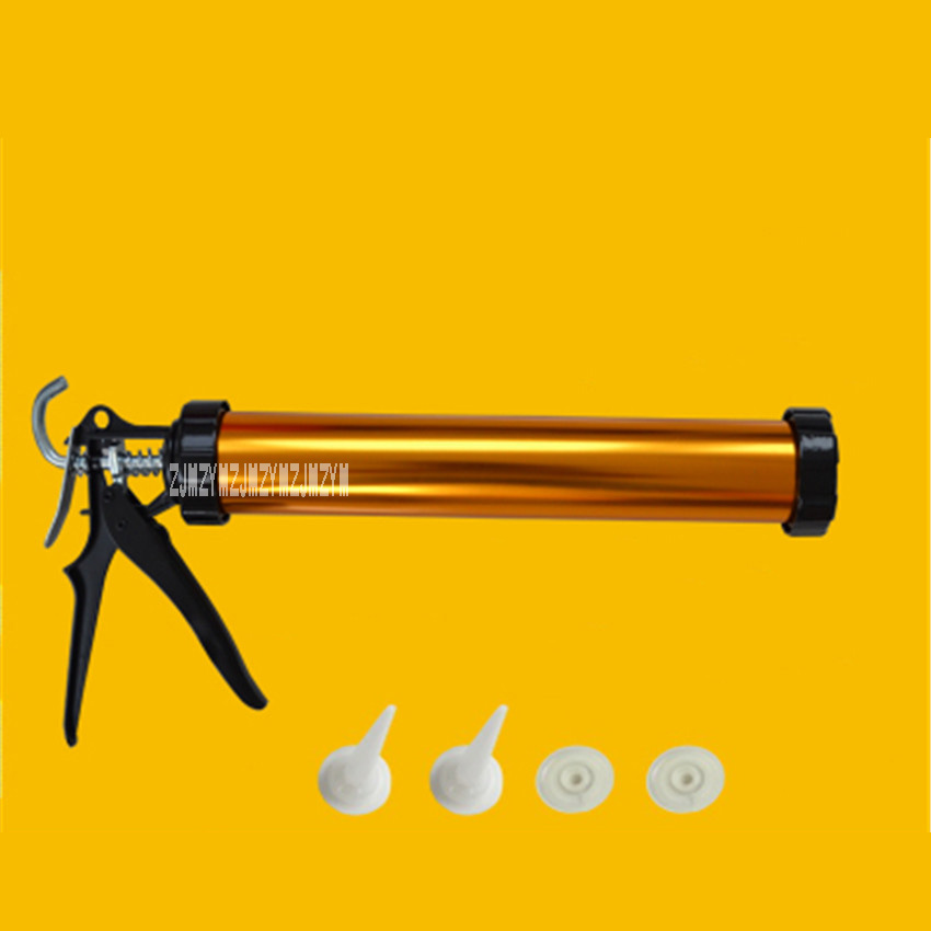 New Arrival Dual-use Aluminum Alloy Structure Glass Glue Gun+2 Glue Mouth+2 Push Piece, Can Be Installed 590ml/700g Of Soft Gun