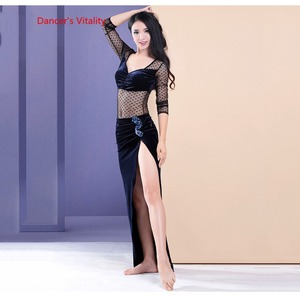 Image 4 - Womens 2 piece Set Oriental Dance Costume Double Color Contrast velvet Dress Bellydance Practice Wear On Sale