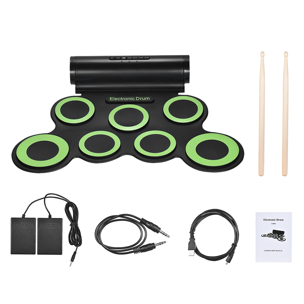 Electric Drum Stereo Electronic Drum Set 7 Silicon Pads USB Powered Built in Speaker with Drumsticks