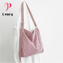 Women Shoulder Bag Canvas Handbag Female Fashion Casual Large Capacity Corduroy Lady Tote Famous Brand High Quality Student Bag