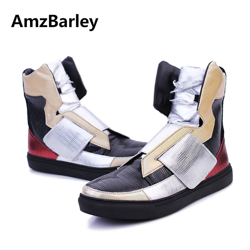 AmzBarley Men Shoes Flats High Top Hip Hop Silvery PU Leather Casual Man Footwear Zapatillas Deportivas Fashion 2018 Spring цены онлайн
