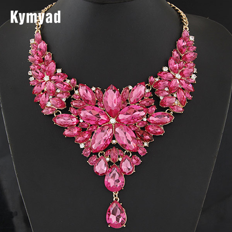 Kymyad Collier Femme déclaration rétro Collier ras du cou couleur or cristal fleur colliers et pendentifs Maxi Collier femmes Collares