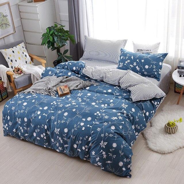 HOT Sale Bedding Sets Blue Printing Duvet Cover3/4pcs Cartoon New Fashion Bed  Sheets Single