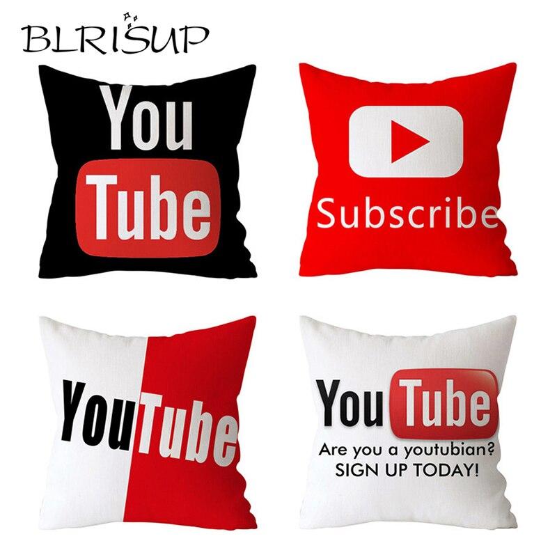 BLRISUP Polyester Social Media Cushion Cover Facebook / YouTube Logo Pillow Case Cover Home Decor Pillowcase 45*45 Cushion Cover