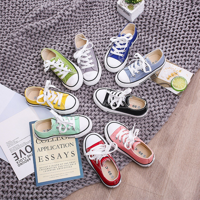 2019 Autumn Children Low-Top Candy Colors Canvas Shoes Mother-Child Fashion Comfortable Small White Shoes Soft Sole Canvas