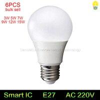 6 PCS de alta qualidade E27 lâmpadas LED 3 W 5 W 7 W 9 W 12 W 15 W 110 V 220 V LEVOU bola bolha lâmpadas quente/frio branco ao ar livre indoor LEVOU luzes