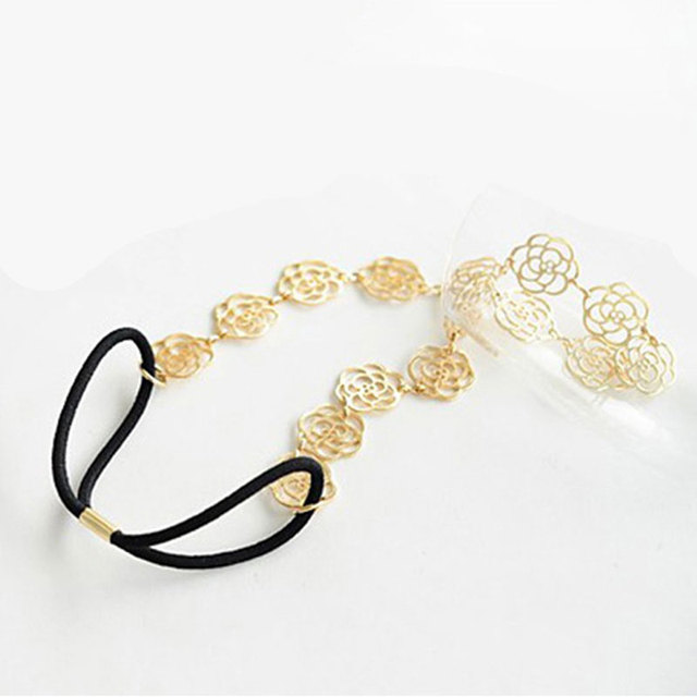 Floral Metal Chain Elastic Head Band for Women