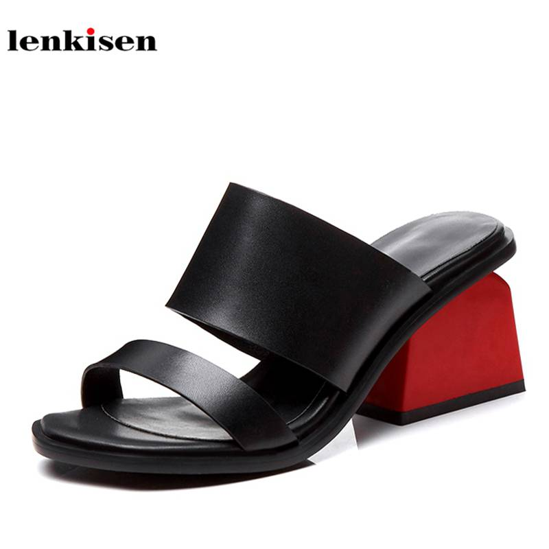 Lenkisen 2018 cow leather slip on solid walking mules shallow women sandals peep toe slingback high
