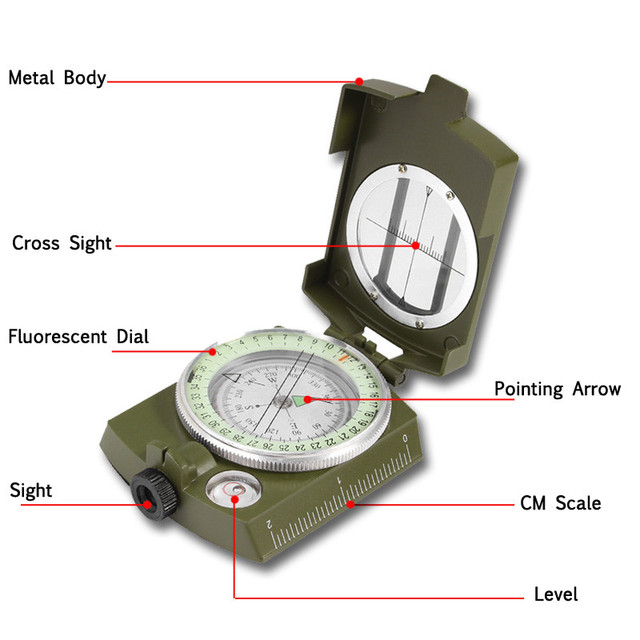 Camping Hiking Travel Sighting Luminous Compass Tactical Survival Compass Military Outdoor Direction Tools Geological Equipment