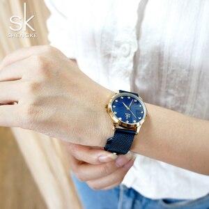 Image 3 - Shengke Wrist Watch Women Fashion Stainless Steel Quartz Watches Bracelet Clock Relogio Feminino 2018 SK Luxury Ladies Watches