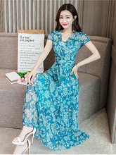 Chiffon Slim Slimming Women's 2019 Summer New Print Fashion Elegant Short-sleeved Long V-neck Large Swing Dress v neck long sleeved abstract striped slimming dress