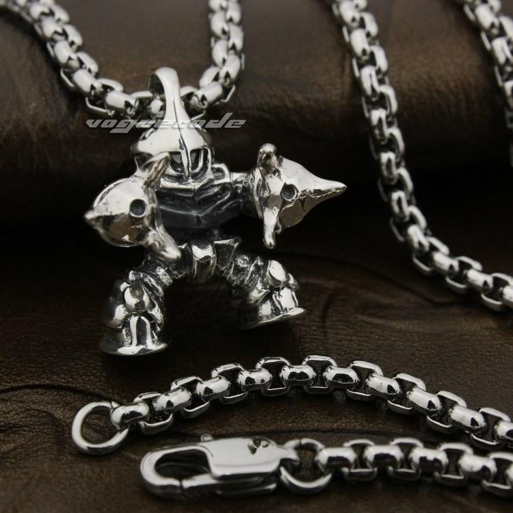 Super Robot Wars Solid 925 Sterling Silver Mens Biker Pendant 8A027(Necklace 24inch) solid 925 sterling silver skull mens biker pendant 8c011 with matching stainless steel necklace