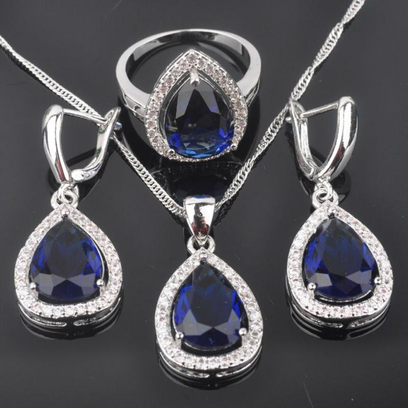 Fahoyo Wassertropfen Blau Zirkonia Frauen 925 Silber Schmuck Sets Ohrringe/anhänger/halskette/ringe Freies Verschiffen Qz0105 Brautschmuck Sets Schmuck & Zubehör