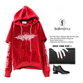 [TWOTWINSTYLE] 2017 A/W Velour Letters Embroidery Double Sleeves Hooded Long Pullovers Women Hoodies Sweatshirt New