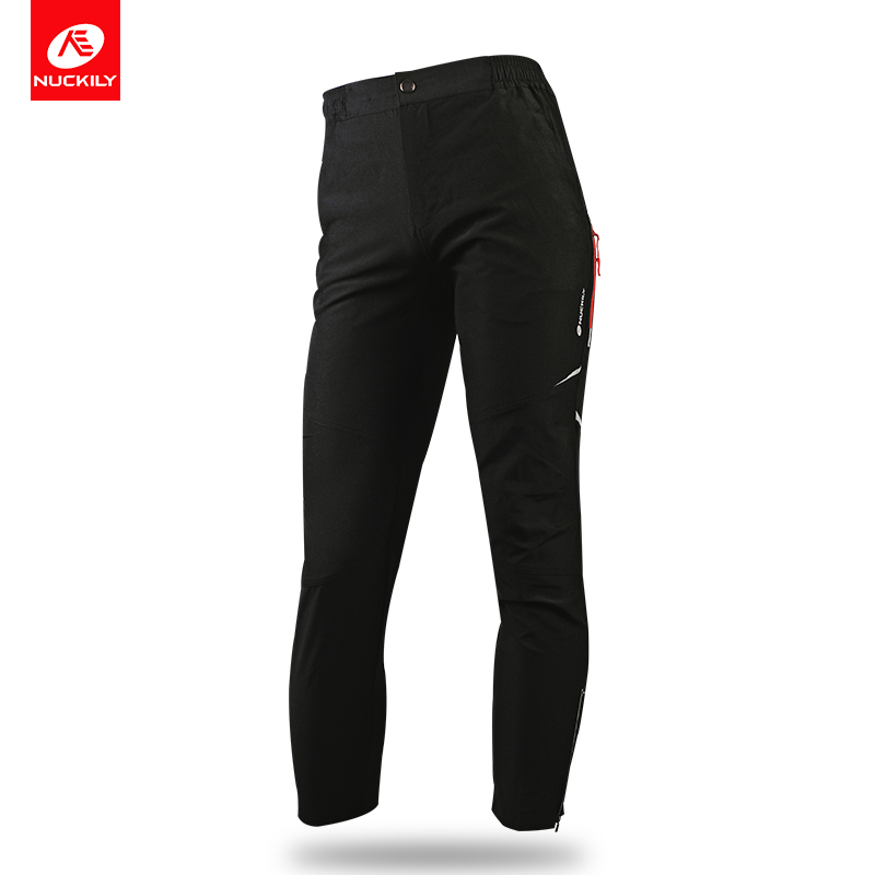 NUCKILY Cycling Pants Men Reflective Bicycle Long Tights Elastic Waist Windproof Outdoor Sports Pants For Spring Autumn MM005 men elastic waist drawstring striped pants