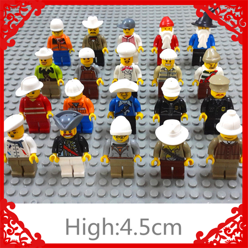 Enlighten 4.5Cm Human Action Figure Model Building Block 20Pcs/set DIY Educational  Toys For Children Compatible Legoe cheerlink zm 81 3mm neodymium iron diy educational toys set silver 81 pcs