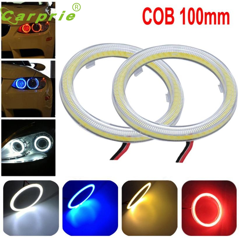 New Arrival 2pcs White 100MM COB LED Angel Eyes Headlight Halo Ring Warning Lamps with Cover dr2