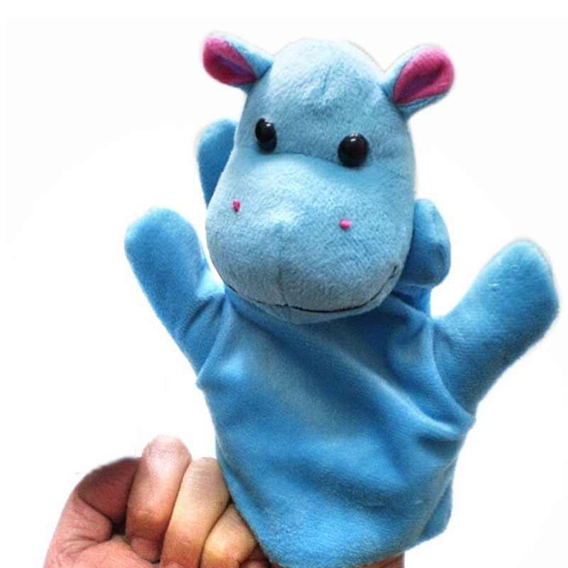 Moda 1 PC popularne dziecko dzieci śliczne duży rozmiar Hippo zwierząt rękawice ubrania woreczek na palec zabawki pluszowe lalek śliczne zabawki
