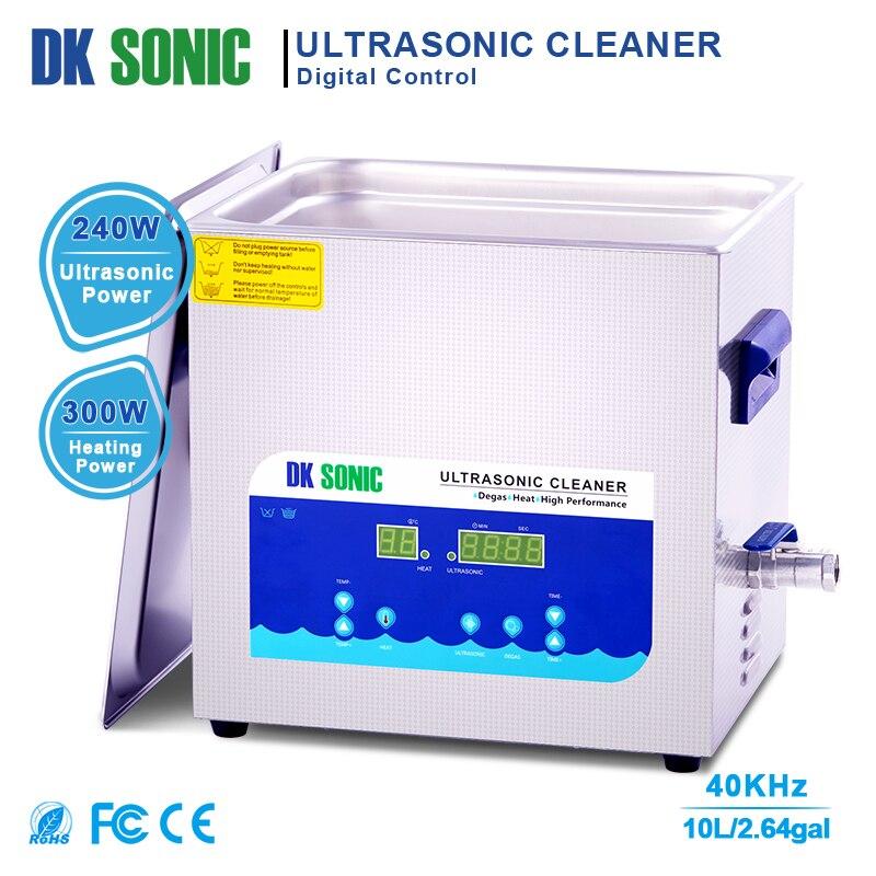 DK 10L 240W Temporizador e Aquecedor de Desgaseificação Ultra sonic sonic Cleaner Bath para Peças De Bronze Da Jóia Anel De Óculos de Combustível Do Carburador injector