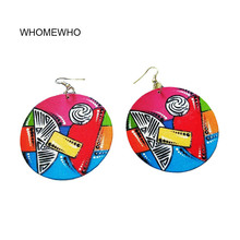Wood Africa Colorful Painting Geometric Shapes Round Vintage Earrings  Fashion Women Wooden African Bohemia Afro Ear Jewelry