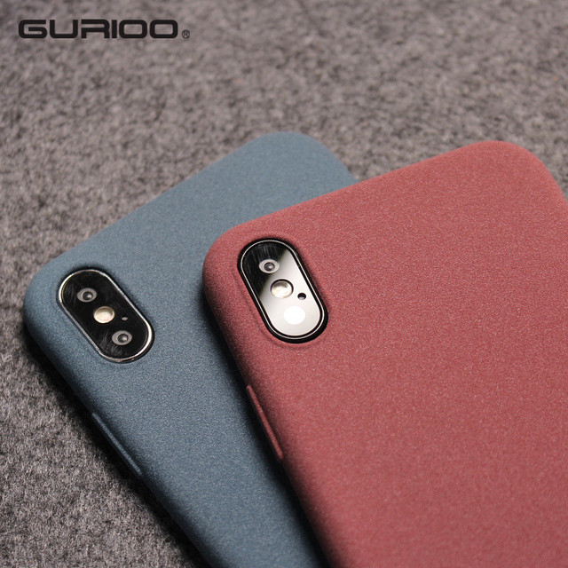 the best attitude 1de0c 71b35 US $1.59 20% OFF Gurioo Mobile Case Ultra Thin Sandstone Case Back Cover  Soft Cover Scrub Cover For iPhone 6 6S 7 8 X XR XS Max Plus phone case-in  ...