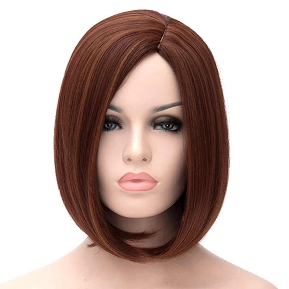 SEVINÇ ve GÜZELLIK Siyah Kök Ombre Altın Gri Yeşil Mavi Peruk Sentetik Saç Kısa Peruk Kadınlar için Bob Doğal Dalga 12 inç Ücretsiz Peruk Kap