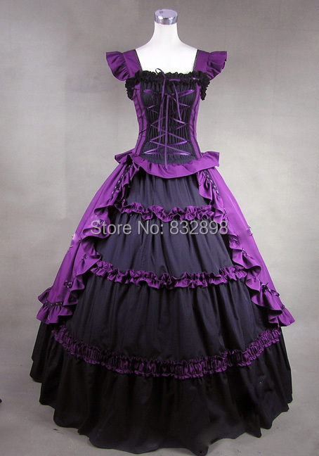 Customizable Black and Purple Gothic Victorian Dress Stage