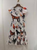 2019 summer new women 100% cotton fashion printed animal flower dress 0605
