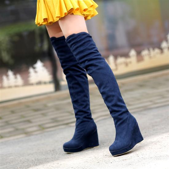 ФОТО Boots Flock Red knee-length wedding shoes bridal plus size 40 41 42 small 31 32 33 high heel 10CM Platform 3CM EUR Size 30-43